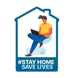 Stay at home save lives social media campaign vector