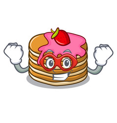 super hero pancake with strawberry character vector image