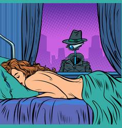 Surveillance peeping nude woman vector