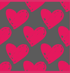 Tile pattern with hand drawn pink hearts on grey vector