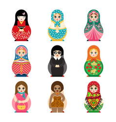 Traditional russian matryoshka toy set vector