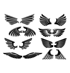 Tribal angel wings for heraldry or tattoo design vector