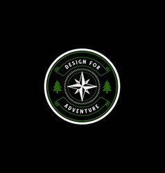 Vintage circular compass with pine trees forest vector