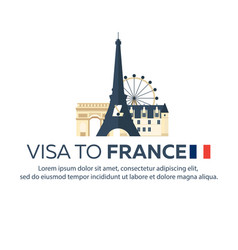 Visa to france travel to france document for vector