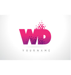 Wd w d letter logo with pink purple color and vector