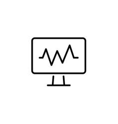 Web line icon pulse monitoring black on white vector