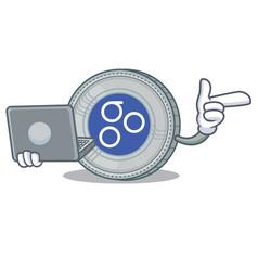 with laptop omesigo coin character cartoon vector image