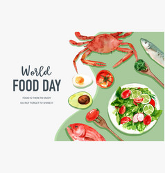 World food day frame design with crab tomato fish vector
