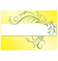Yellow background with green flora vector