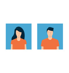 young man and woman avatar template for social vector image