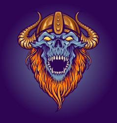 zombie angry skull horned helmet vector image