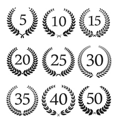 Anniversary and jubilee laurel wreaths icons vector image vector image