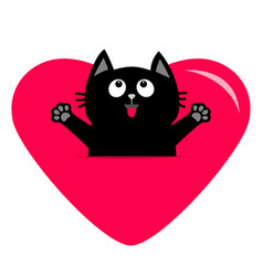 black cat and big heart icon cute funny cartoon vector image vector image