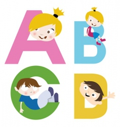 boy and girl with alphabet vector image vector image