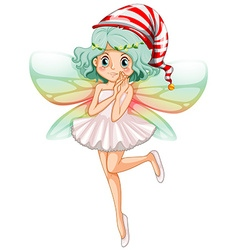 Fairy wearing party hat for Christmas vector image
