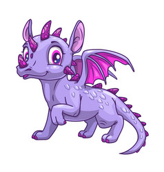 Funny cartoon little dragon icon vector