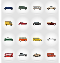 old retro transport flat icons 17 vector image