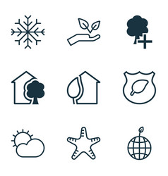 set of 9 eco icons includes guard tree world vector image