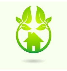 Green house with leaves vector image vector image