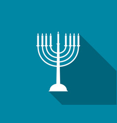 hanukkah candles with long shadow vector image