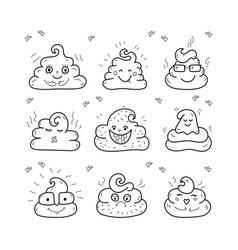 poop emoji face icons crap signs cartoon shit vector image vector image