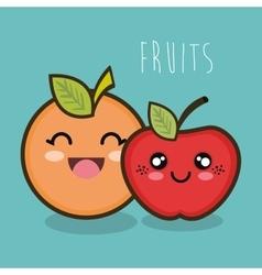 cartoon orange apple facial expression graphic vector image