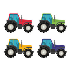 colorful tractors on white background vector image