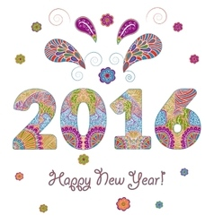 Happy New Year 2016 Greeting Card with vector image vector image