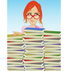 Librarian Books vector image vector image