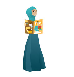 successful muslim business woman reading magazine vector image vector image