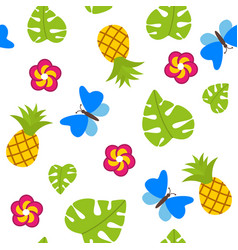 tropical seamless pattern on white background with vector image vector image