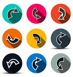 Arrows Set Arrows in Circles Icons Isolated on vector image vector image