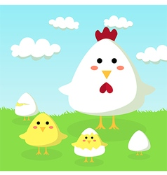 Chicken Chick and Egg in Field vector image