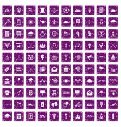 100 arrow icons set grunge purple vector image