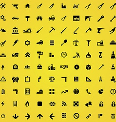 100 construction icons vector image