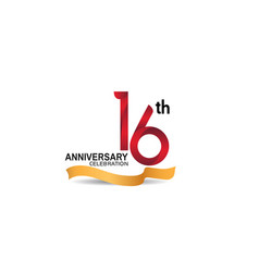 16 anniversary design logotype red color vector
