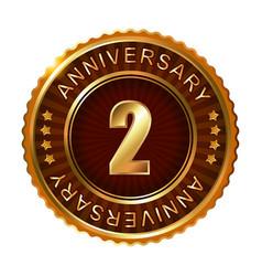 2 years anniversary golden brown label vector