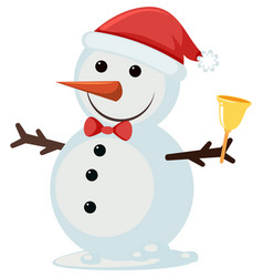 a cute snowman on white background vector image