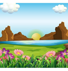 A view of the river and the beautiful flowers vector