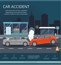 Accident with two cars on road night city vector