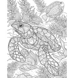adult coloring bookpage a cute turtle image vector image
