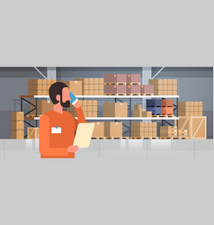 African american man loader phone calling pallet vector
