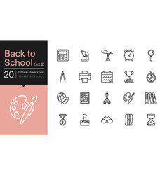 back to school icons set 2 modern line design vector image