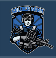 badge soldier hold assault rifle vector image