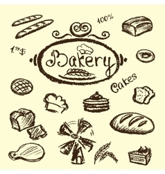 Bakery set elements chalkboard vector