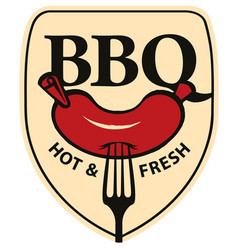 bbq barbecue banner with a sausage on a fork vector image