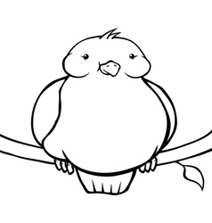 Black and white fat cartoon bird vector image