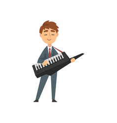 boy playing synthesizer talented young musician vector image