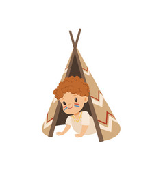 Boy sitting in a tepee tent kid playing in vector