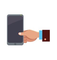 Business hand man holding smartphone app vector